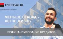 Рефинансирование кредитов в Росбанке для физических лиц — от 13,5%